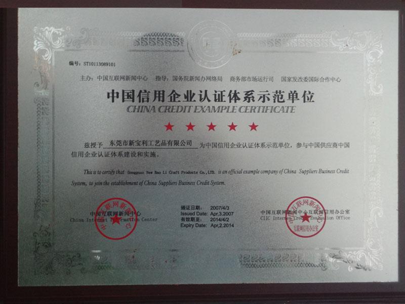Demonstration Unit of China Credit Enterprise Certification System