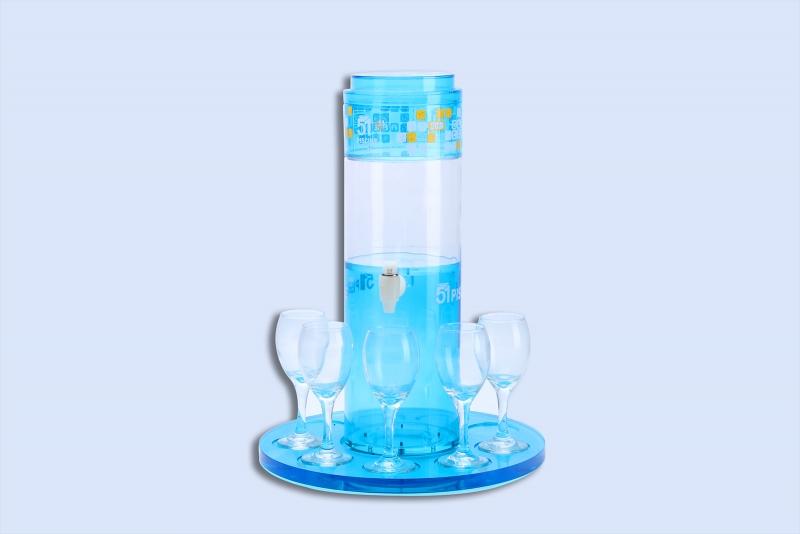 Transparent blue wine rack